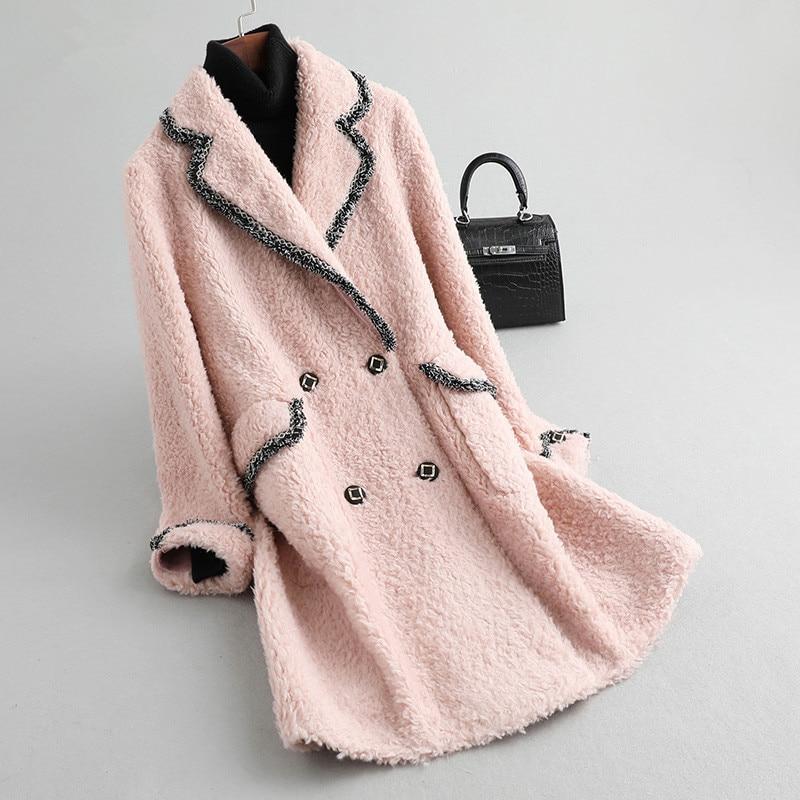 Fur Real Coat Female Sheep Shearling Jacket Winter Coat Women Real Wool Coats Korean Long Jackets Manteau Femme MY4562 S S