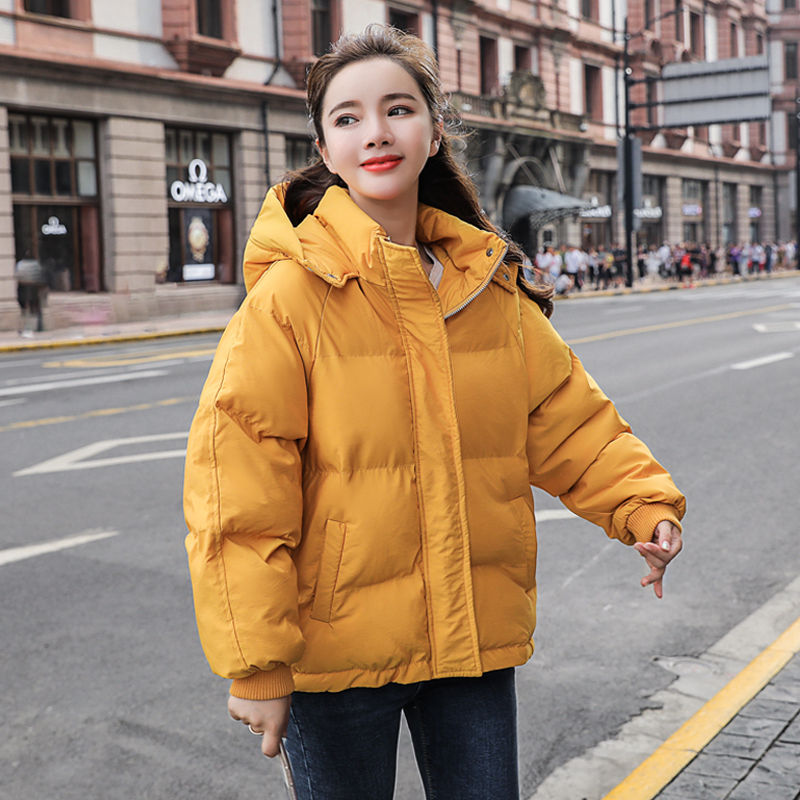 Yellow Winter Jacket Women Parka Warm Thick Solid Short Cotton Winter Parkas Coat Loose Hooded Outerwear Warm Coat Woman C5816