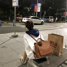 цена на Korean version of simple backpack large capacity leisure students  PU hanging decorative bag for girl men women