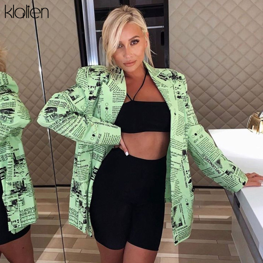 KLALIEN long sleeve turn-down v-neck Single Breasted Newspaper Printing outfit jackets 2019 Autumn Winter Women Fashion Coat