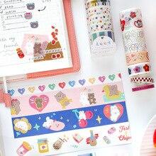 6 рулонов/набор Корея Радуга Медведь серии маскировки васи декоративная лента Сделай Сам клейкая лента дневник в стиле Скрапбукинг кавайная наклейка
