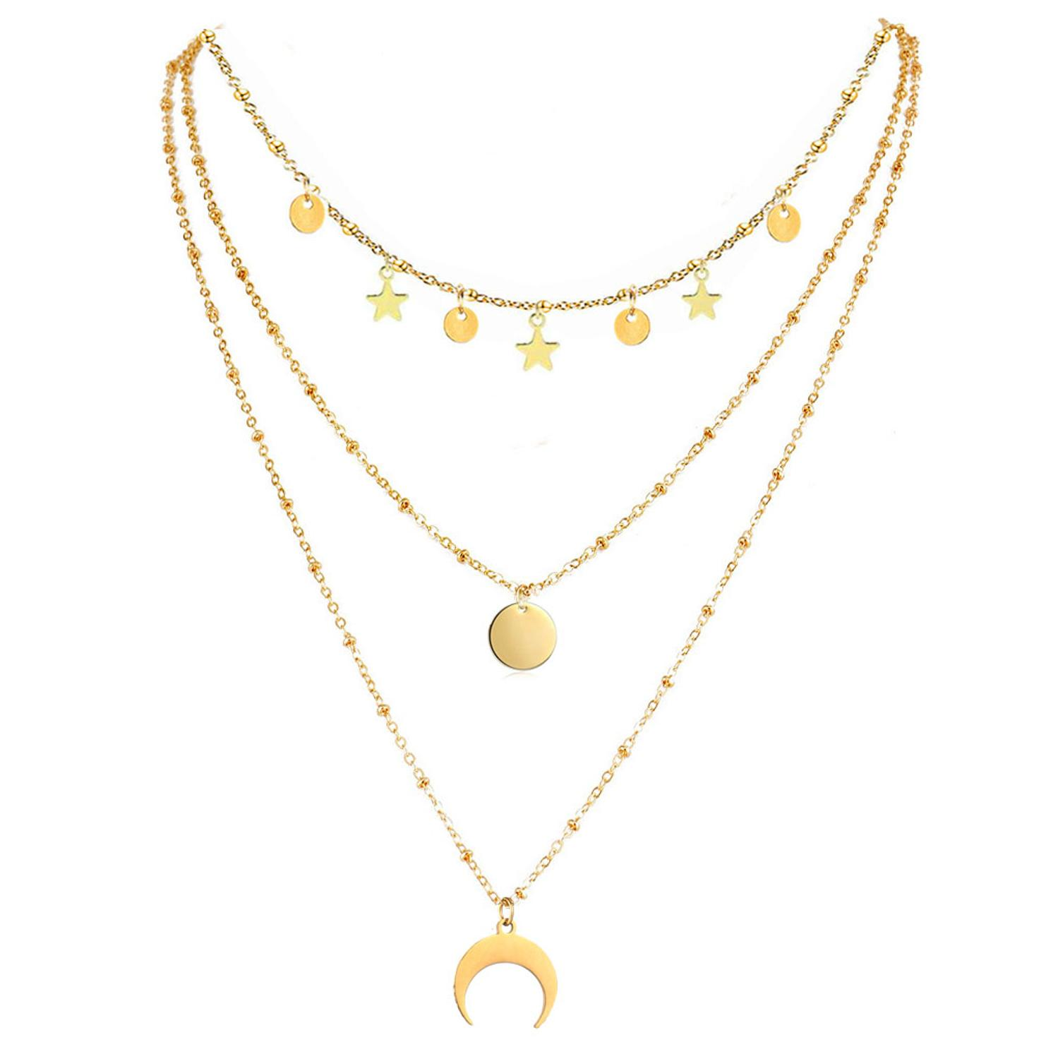 3 Layer Chains Stainless Steel Star Choker For Woman Girls Multilayer Horn Round Disc Moon Tassel Pendant Necklaces