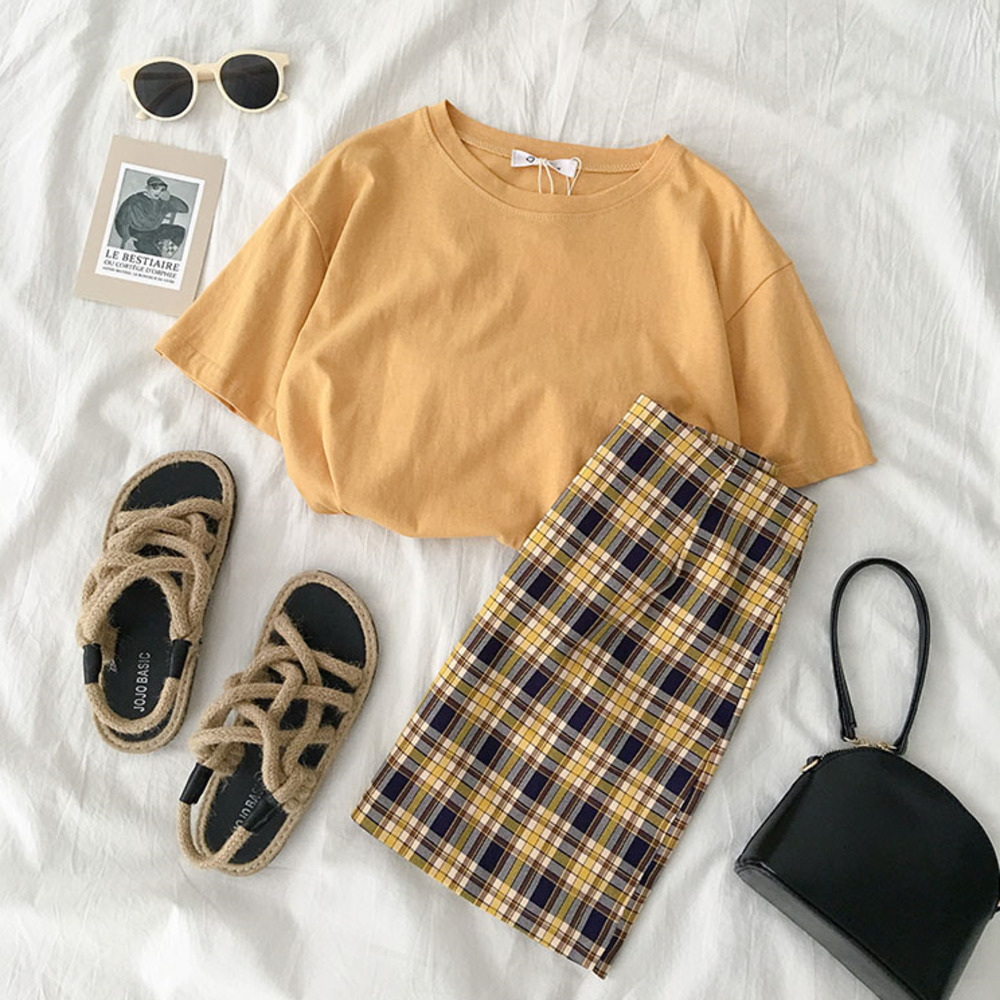 Summer Harajuku Skirt Set Women Casual Yellow Short T-shirt + Plaid Zipper Fly Mini Skirt Women Two Pieces Set Matching Set