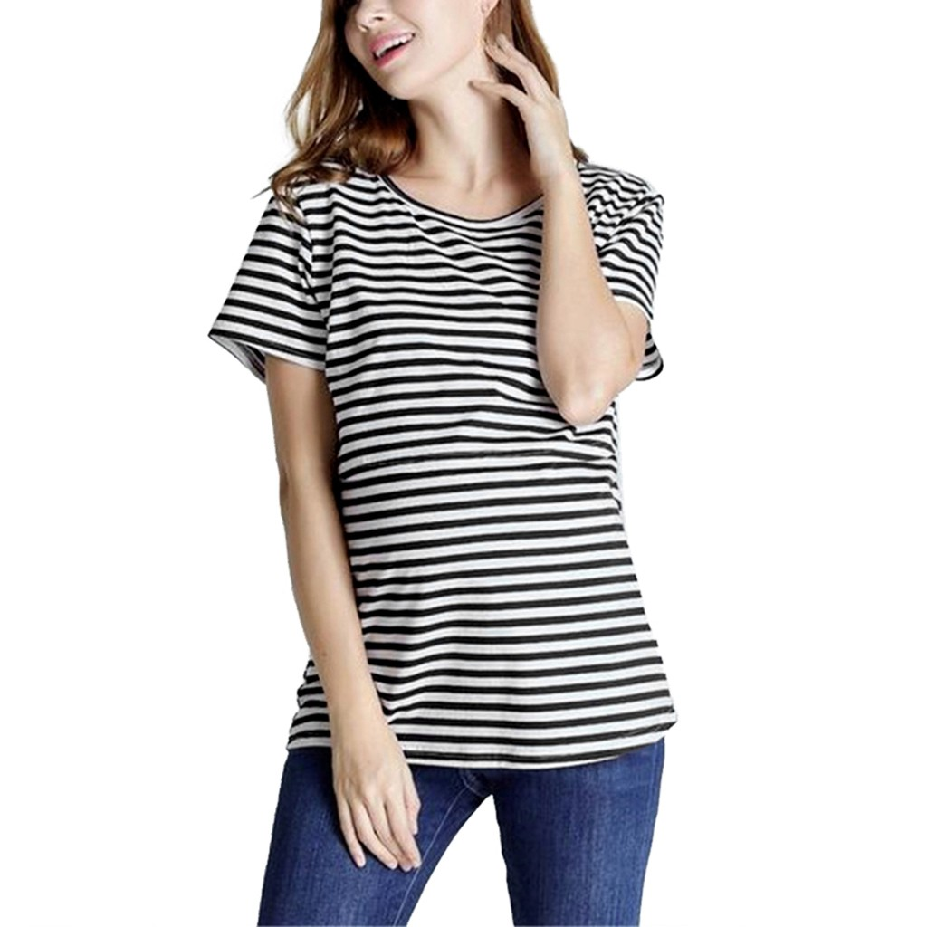2019 Summer Women Breastfeeding Clothes Striped Floral Short Sleeve Nursing T-shirt Top Maternity Clothes Women Casual Tee Tops
