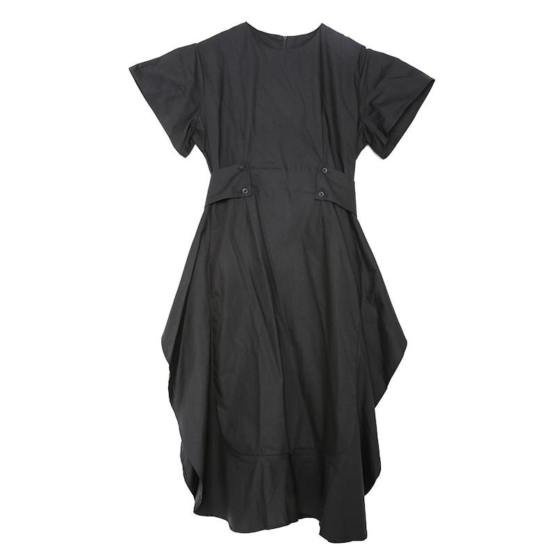 New Fashion Style Black Side Vent Bandage Ruffles Loose Dress Fashion Nova Clothing