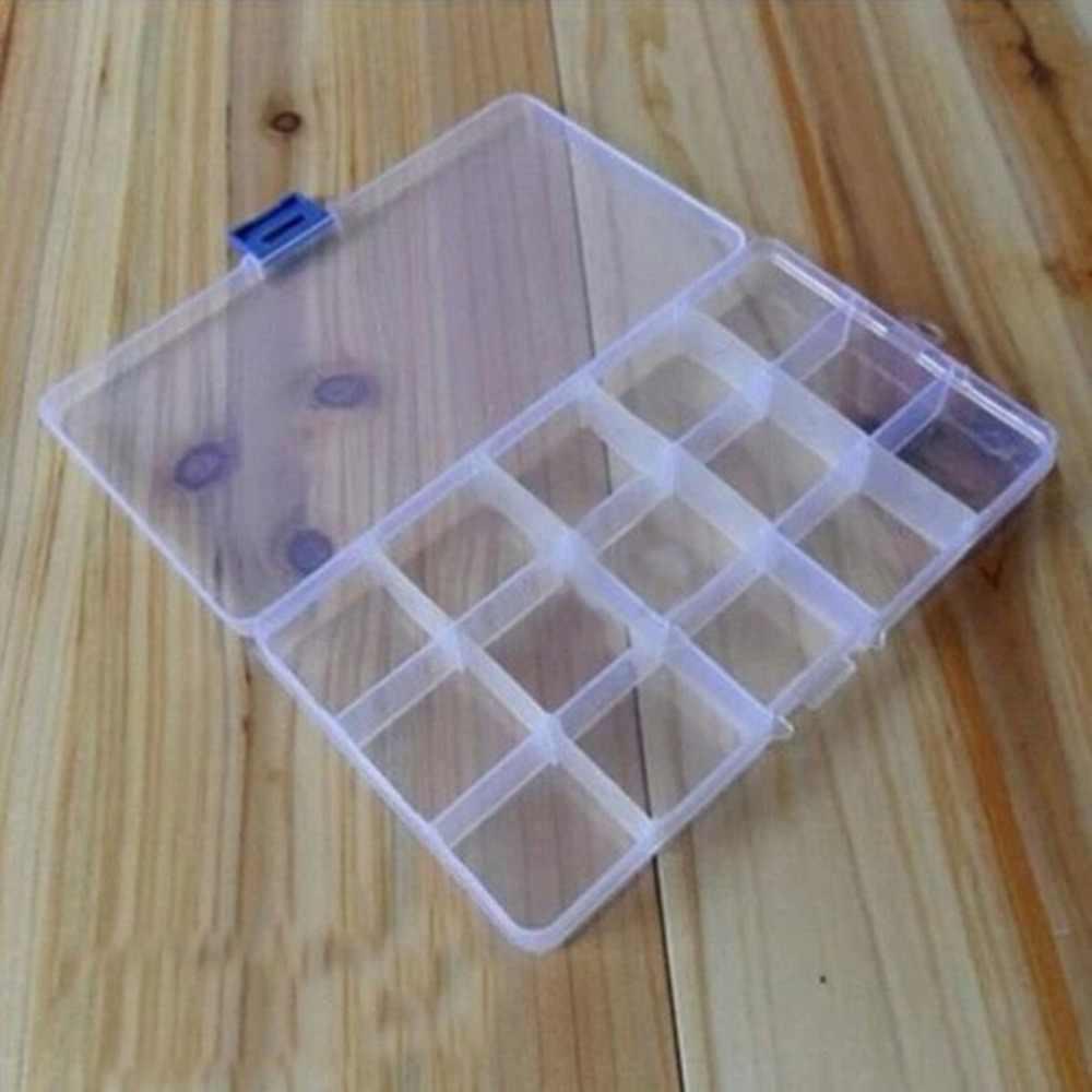 15 caja de almacenamiento creativa de rejilla con separadores extraíbles objetos de valor joyería efectivo caja de plástico transparente contenedor de almacenamiento de organizador