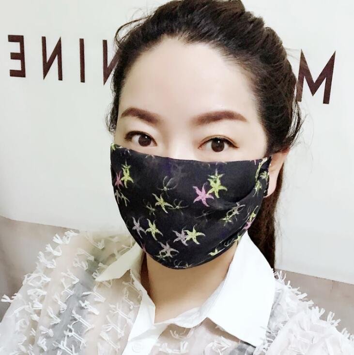 Women's Spring Summer Flower Print Thin Silk Mask PM 2.5 Breathable Silk Sunscreen Mouth-muffle R2853