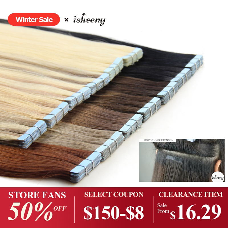 Isheeny Remy Human Hair Tape Extensions 12