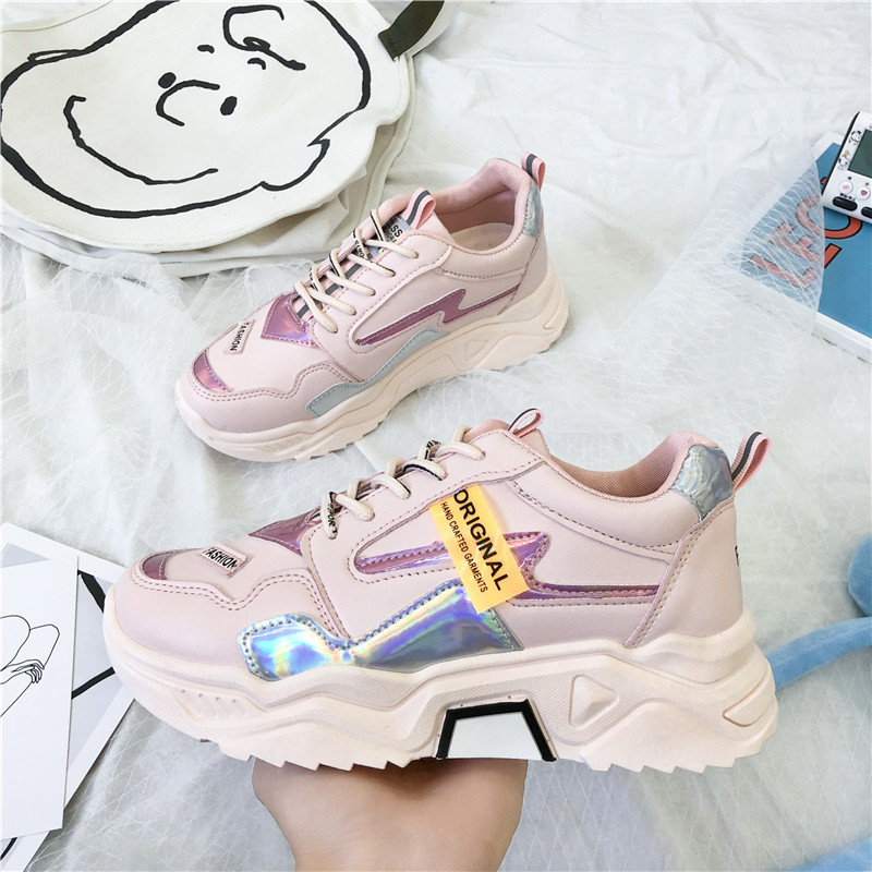 2020 Women Chunky Sneakers Pink Platform Tenis Female Trainers Casual Shoes Woman Designers Leather Fashion Sneaker Size 41 42 1