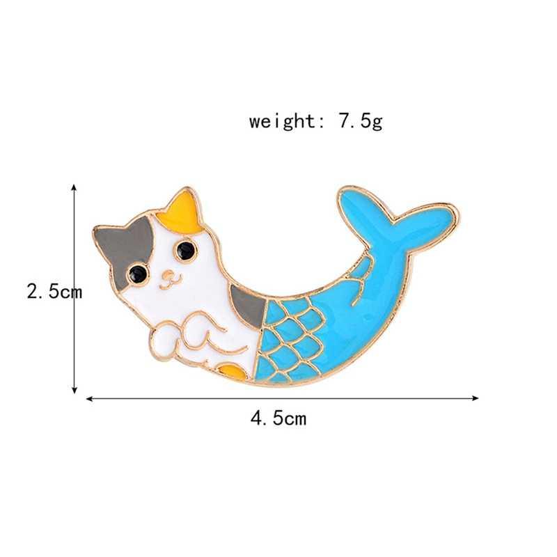 인어 아름다움 고양이 브로치 크리 에이 티브 재미 만화 동물 고양이 에나멜 핀 여자 셔츠 가방 데님 옷깃 핀 옷 배지