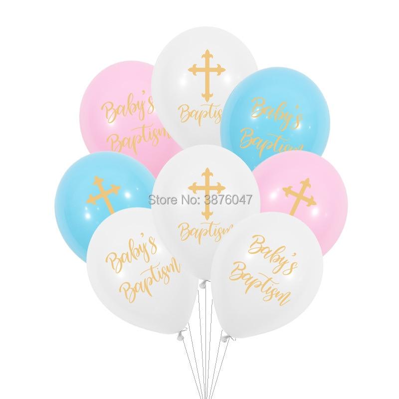 Воздушные шары 12 шт./лот для детского крещения, украшение для вечеринки в честь рождения ребенка на крестине, с золотым крестом, с надписью god...
