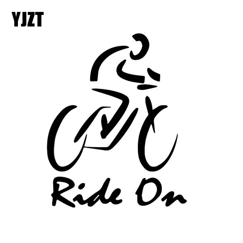 YJZT 12CM*14.9CM Dazzling Bike Brief Strokes Ride On Driving Cycling Vinly Decal Shadow Car Sticker Cute Black/Silver C27-0690