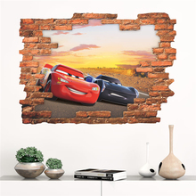 3d disney cars mcqueen through wall decals kids rooms bedroom home decor cartoon wall stickers pvc mural art diy posters цена
