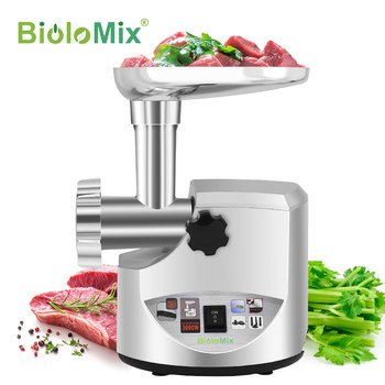 BioloMix Heavy Duty 3000W Max Powerful Electric Meat Grinder Home Sausage Stuffer Meat Mincer Food Processor