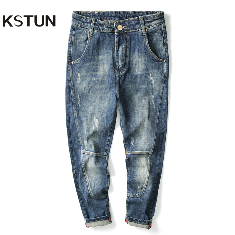 Jeans Men Retro Blue Elastic Hip Hop Streetwear Loose Fit Harem Pants Patched Casual Denim Men Jeans Trousers Cowboys Size 40 42
