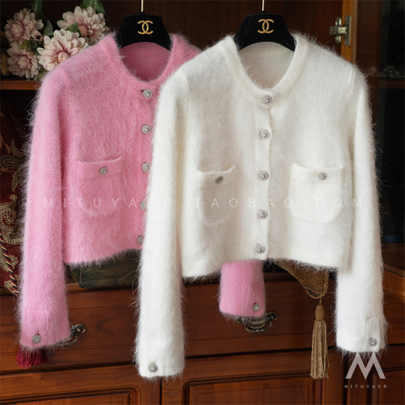 New Autumn Pink/White/Black Cardigan Women 2020 Casual O-neck Long Sleeve Short Knitted Sweater Woman