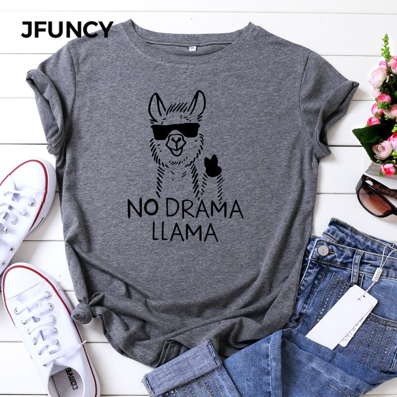 JFUNCY Plus Size T Shirts Women Funny Animal Summer Cotton T-Shirt Cute Alpaca Graphic Print O Neck Short Sleeve Female Tee Tops