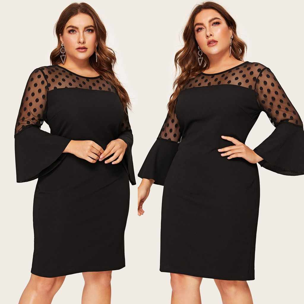Fashion Vestido Dress Women Plus Size O-Neck Flare Sleeve Polka Dot Mesh Patchwork Midi Dress Party Dresses jurken grote mat@45