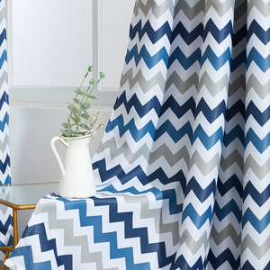 Image 4 - Topfinel Geometric Wave Blackout Curtains For Living Room Modern Printed Yellow Blue Window Treatment Drapes Bedroom Curtains