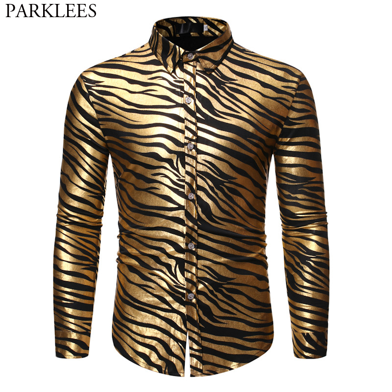 Men's 70s Metallic Gold Zebra Print Disco Shirt 2019 Brand New Slim Fit Long Sleeve Mens Dress Shirts Party Prom Stage Chemise