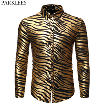 Mens 70s Metallic Gold Zebra Print Disco Shirt 2019 Brand New Slim Fit Long Sleeve Mens Dress Shirts Party Prom Stage Chemise