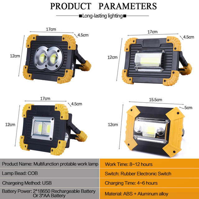 Tragbare Scheinwerfer suchscheinwerfer taschenlampe tortch COB Arbeit Licht power von 2*18650 Akku/3 * AA batterie für camping