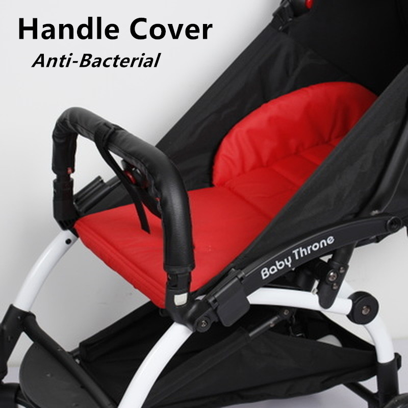 Baby Stroller Armrest Handle Sleeve Cover Universal Handle Dust Proof Cover Artificial Leather Bumper Bar Case Cover Protector for Children Push Cart Accessories Brown 1PC