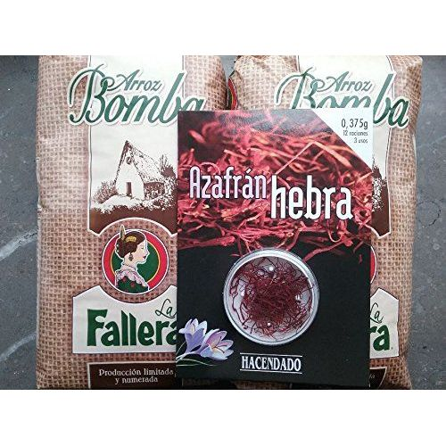 2x1kg Original Spanischer Bomba Paella-Reis La Fallera + 0,375gr. Safran Hacendado
