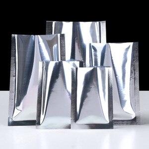 1000 pçs aberto superior prata folha de alumínio calor selagem embalagem saco rasgo entalhe reciclável seco petiscos de carne saco de armazenamento varejo