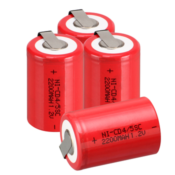 4pcs 4/5 Sub C SC 1.2V 2200mAh NiCd Rechargeable Battery & Tap Red image