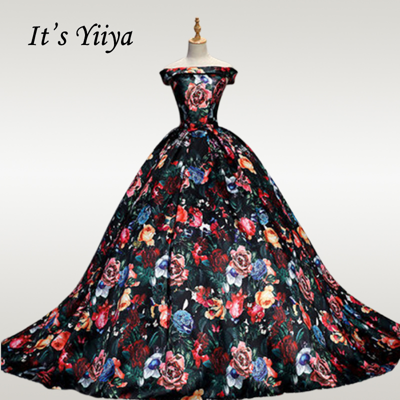 It's YiiYa Wedding Dress 2019 Elegant Printing Boat Neck Wedding Dresses Plus Size Off Shoulder Train Robe De Mariee CH060
