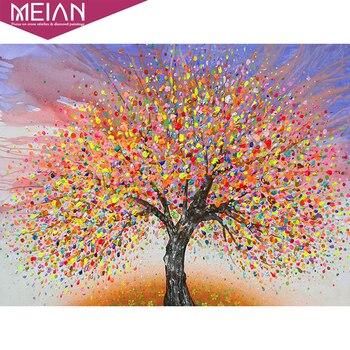 Pintura de diamante MEIAN 5d, mosaico de diamantes de paisaje, árbol de color, cuentas cuadradas y redondas, decoraciones artesanales para el hogar