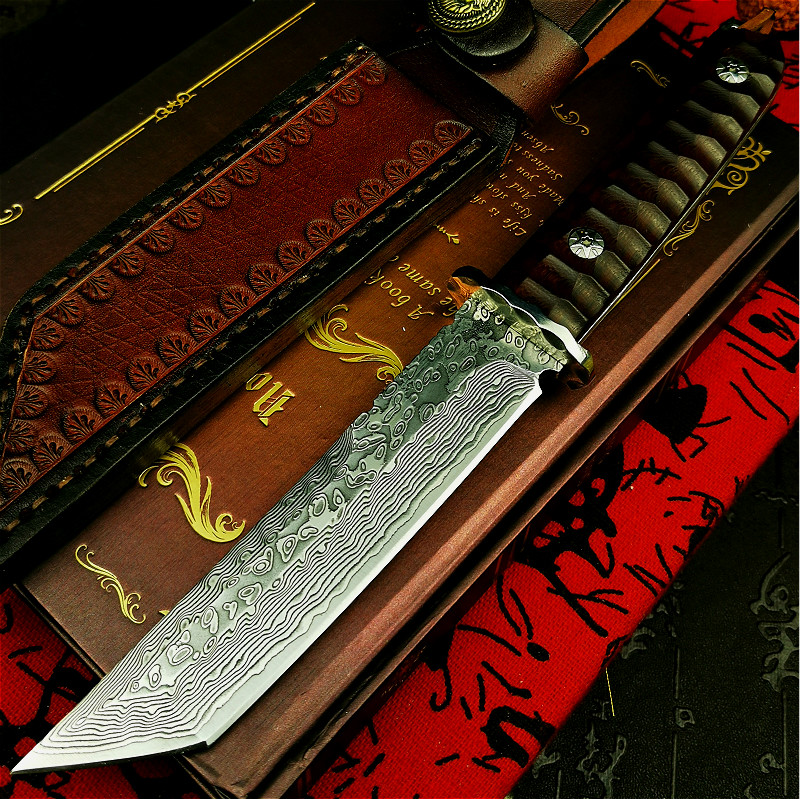 PEGASI Japan vacuum forging Damascus steel G10 steel core high hardness integrated hunting knife red wood handle tactical knife