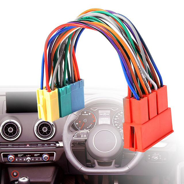 1 Pcs Car Mini ISO 20Pin Plug Extension CD Harness Cable Adapter Anti electromagnetic Interference For VW Audi A2 A3 A4 A6 TT
