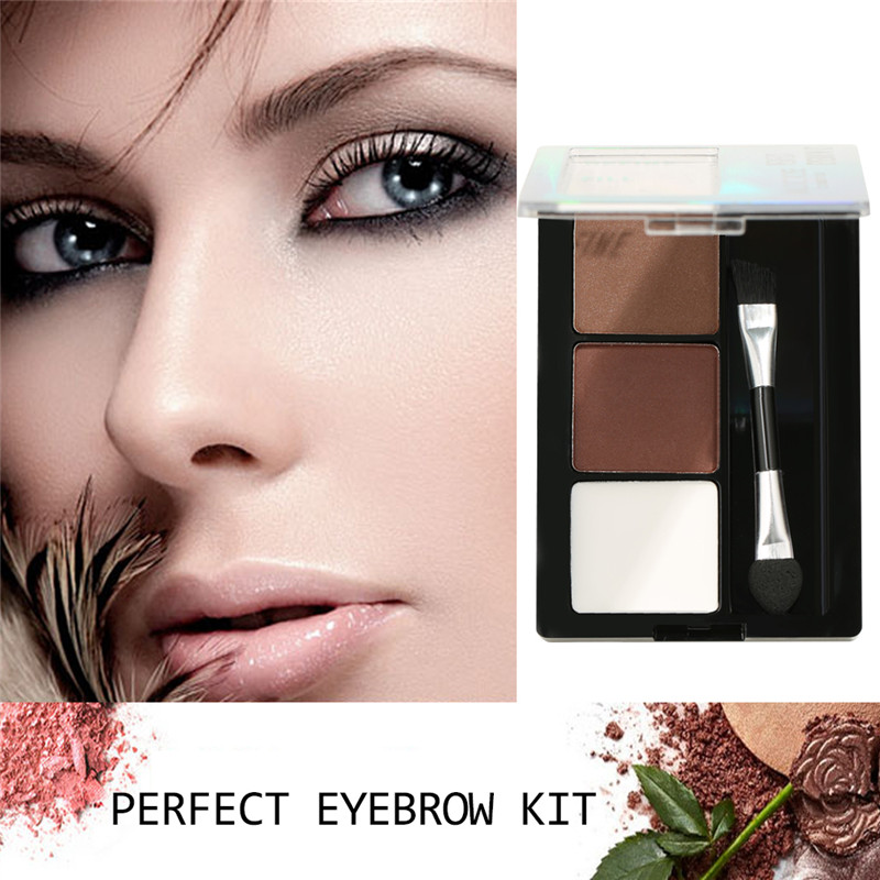 3 Colors Eyebrow Powder Palette With Double End Brush Eye Shadow Highlight Enhancer Waterproof Women Cosmetic Make Up Tool