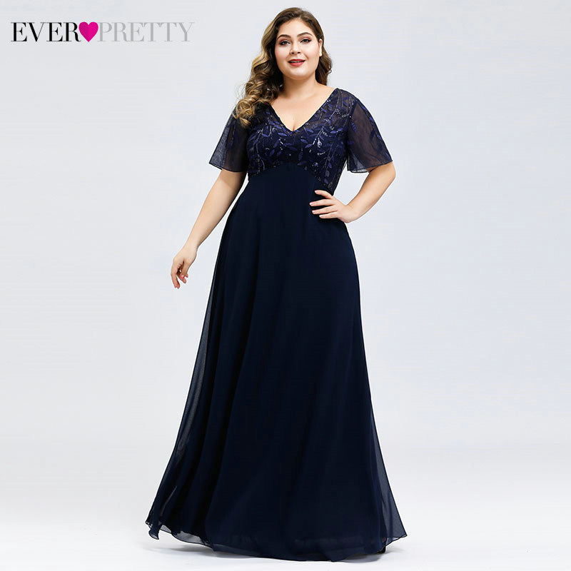 Sequined Evening Dresses Plus Size Ever Pretty A-Line V-Neck Short Sleeve Tulle Formal Dresses For Party Vestido Fiesta Largo