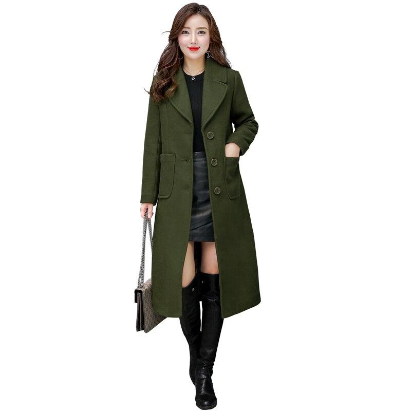 Autumn Winter Wool Coat Women Slim Medium Long Korean Coat Ladies Elegant Long Sleeved Plus Size Black Blends Casaco Feminino