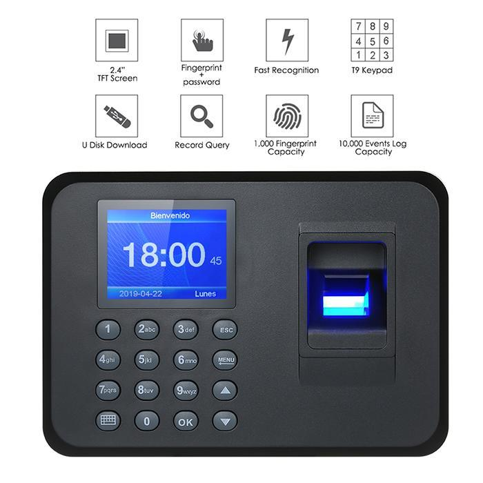 Biometric Fingerprint Time Attendance Machine Clock Recorder Office Employee Register Device Recognition Management 5 Languages