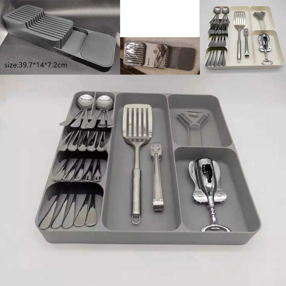 Plastic Drawer Cutlery Organizer Tray Kitchen Storage Holder Rack for P9X4