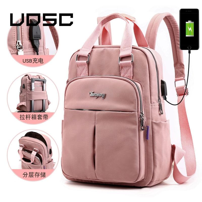 UOSC Nylon Women School Backpacks Anti Theft USB Charge Backpack Waterproof Bagpack School Bags Teenage Girls Travel Bag