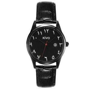Image 3 - Algarismos árabes relógios data exibição à prova de água relógio de pulso islâmico saat pulseira de couro movimento quartzo