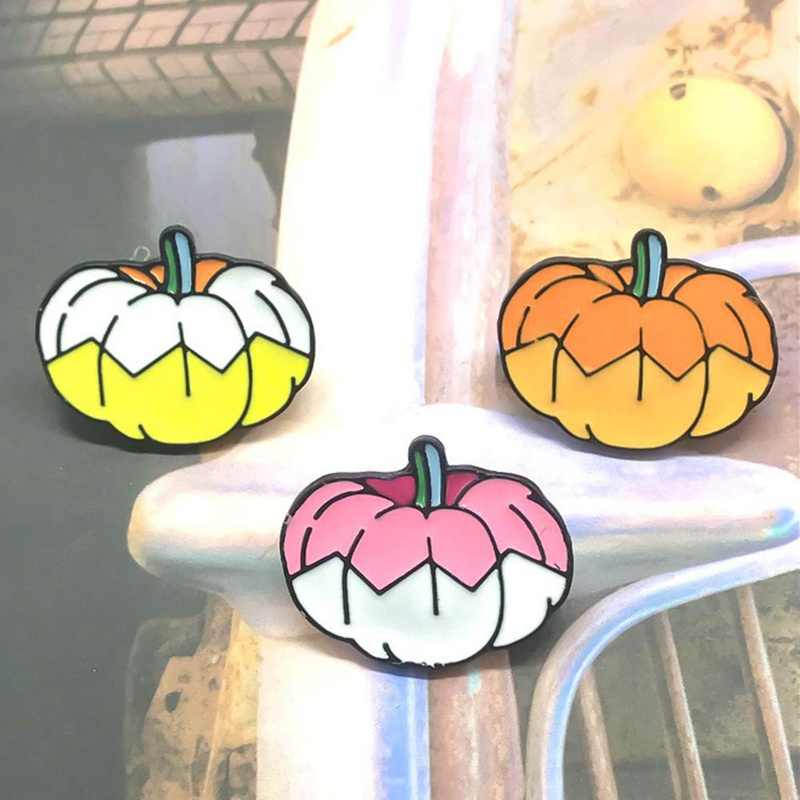 Lucu Warna-warni Labu Logam Enamel Bros Fashion Kartun Kecil Lencana Pin Dekorasi untuk Tas Ransel Halloween Perhiasan Hadiah