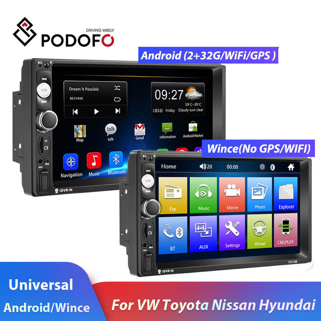 """Podofo 2 Din Car radio Multimedia Video Player 2 din 7"""" Wince / Android with GPS Wifi Autoradio for Universal VW Toyota Hyundai"""