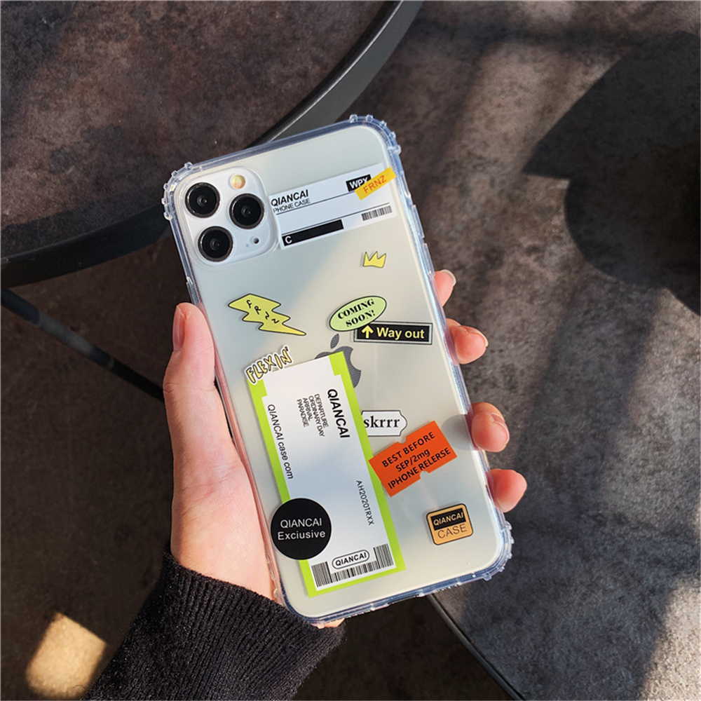 H74bea28c759b47c1a6afc4b208f79a2bK - New Trend Transparent Anti-drop ticket label Code Case For iPhone 11 Pro XS Max XR X 6 6S 7 8 Plus Soft TPU Protecte Back Cover