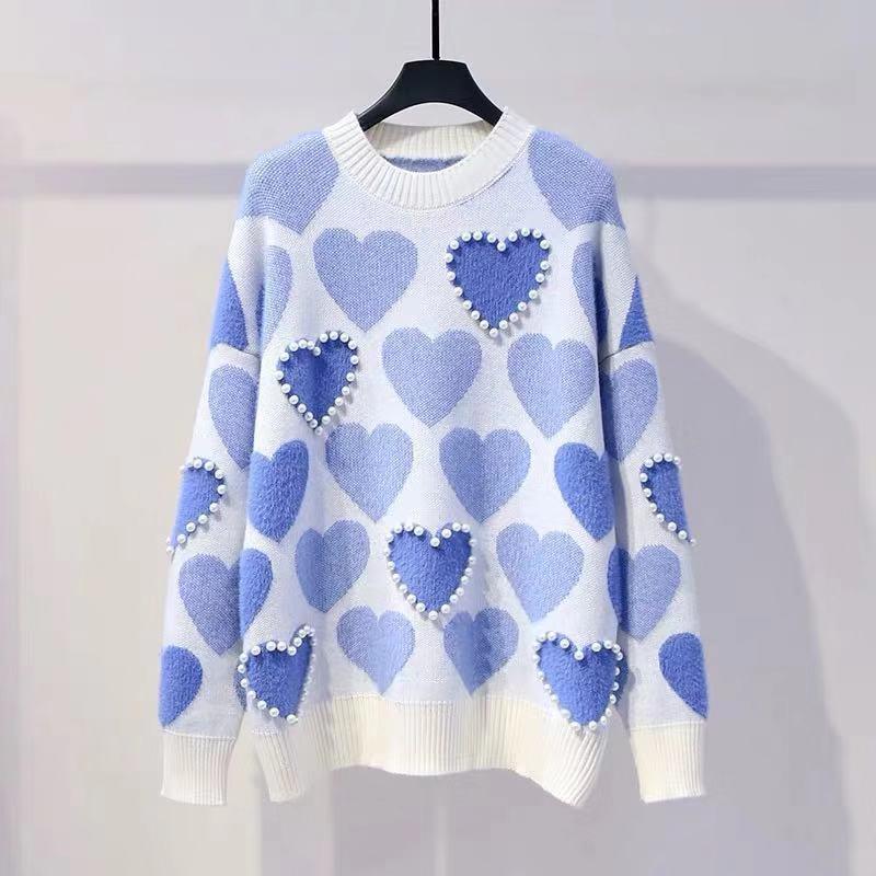 H. SA Женский вязаный свитер и пуловеры с жемчужинами и бусинами, свитера с милым сердцем, джемперы с длинным рукавом, Kawaii Pull Femme