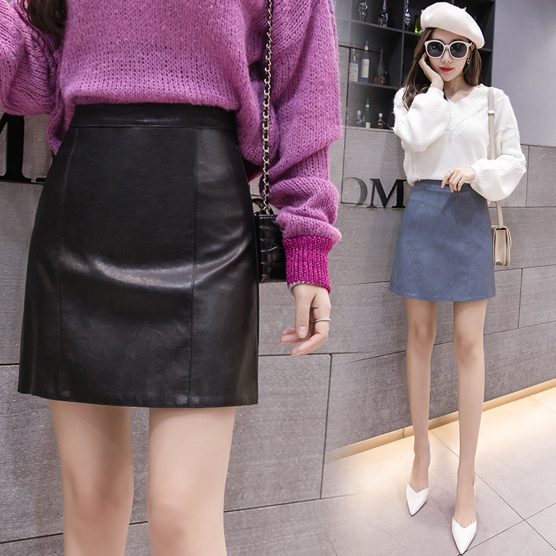 Image 5 - 2019 New Arrival Autumn Winter Sexy Lady Skirts Women Trend Solid PU Faux Leather Skirt Mini Female Invisible Zipper skin Skirts-in Skirts from Women's Clothing