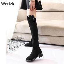 2019 Fashion Runway Rivet Suede Fabric Boots Round Toe Over-the-Knee Heel Thigh High Toe Woman Boot winter boots women A617(China)
