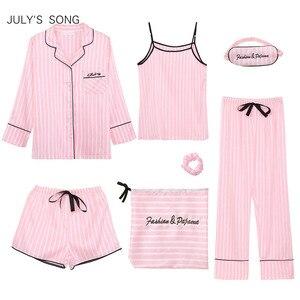 Image 1 - JULYS SONG Pink Womens 7 Pieces Pajamas Sets Faux Silk Striped Pyjama Women Sleepwear Sets Spring Summer Autumn Homewear