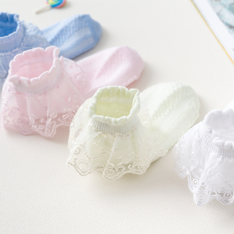 Summer Fashion Kids Socks Baby Girl Ruffle Sock Cute Baby Frilly  Toddle Designer White Pink Lace Kid Cotton Socks For Girls 3