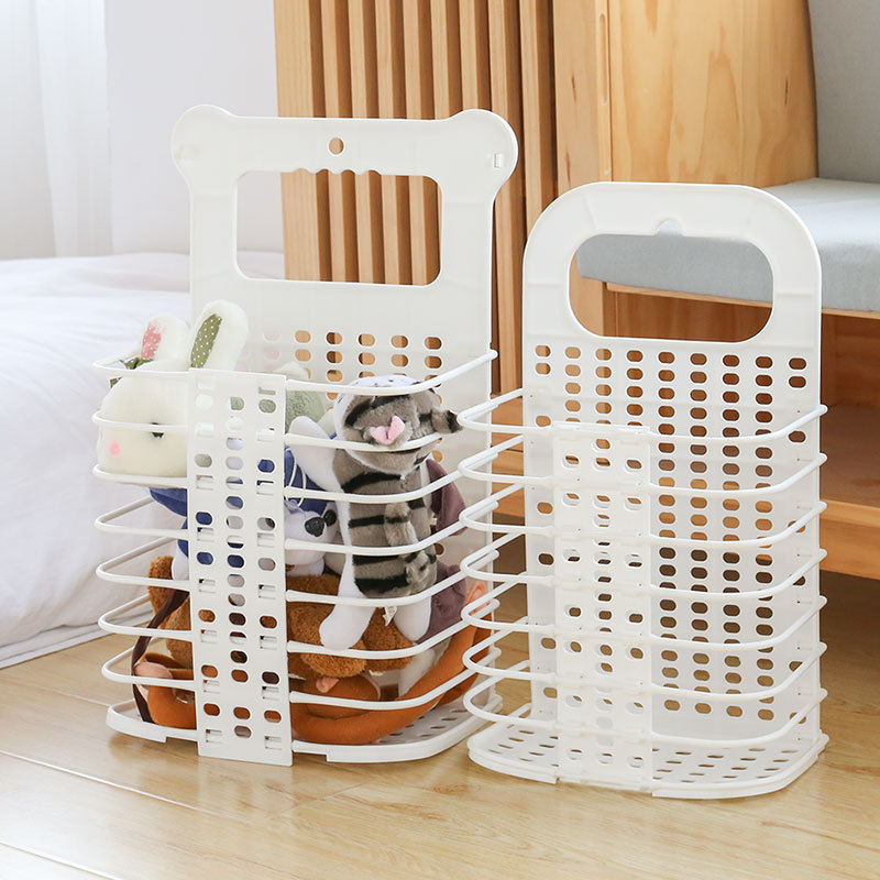 Household Folding Hamper Plastic Clothes Storage Baskets Wall Hanging Laundry Bin Collapsible Toy Organizer Bathroom Accessories in Storage Baskets from Home Garden